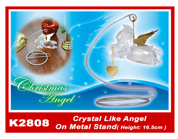 K2808 Crystal Like Angel On Metal Stand (Height:16.5cm)