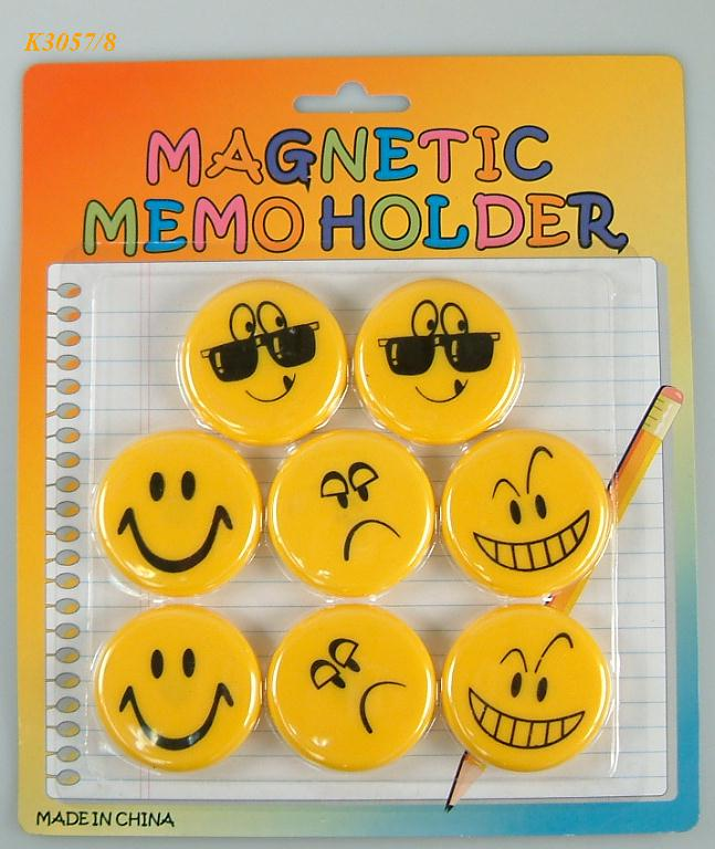K3057/8 S/8 SMILING FACE MAGNET MEMO HOLDER