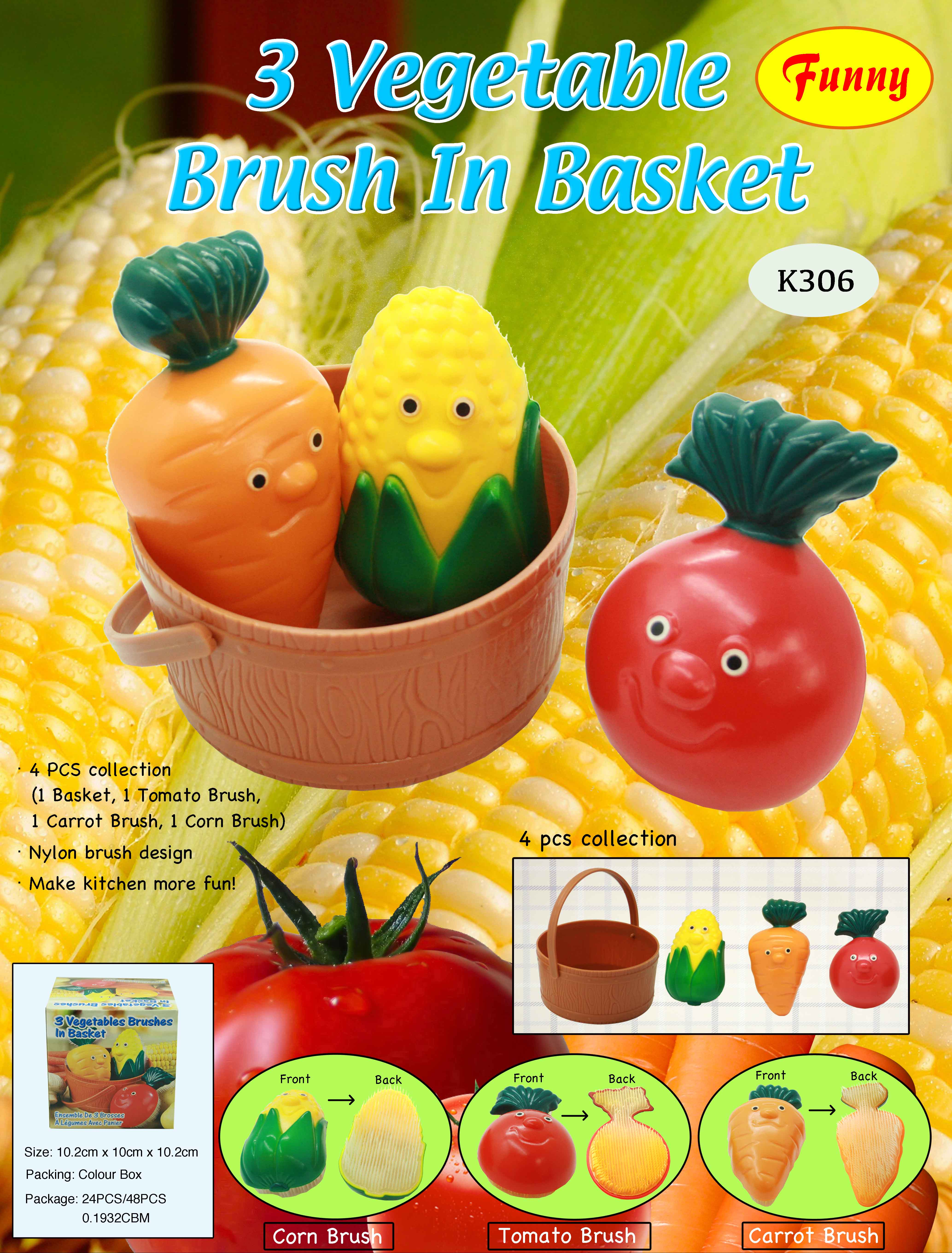 K306 3PCS VEGETABLE BRUSHES+BUCKET