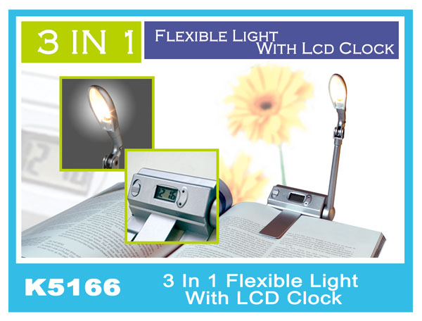 K5166 3 In 1 Flexible Light With LCD Clock