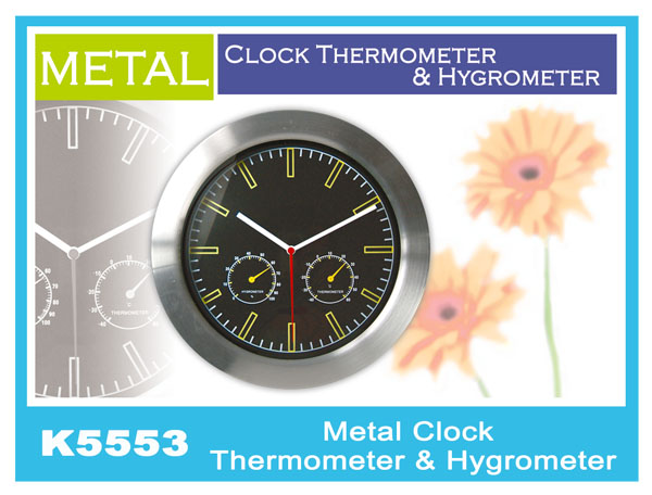 K5553 Metal Clock Thermometer & Hygrometer