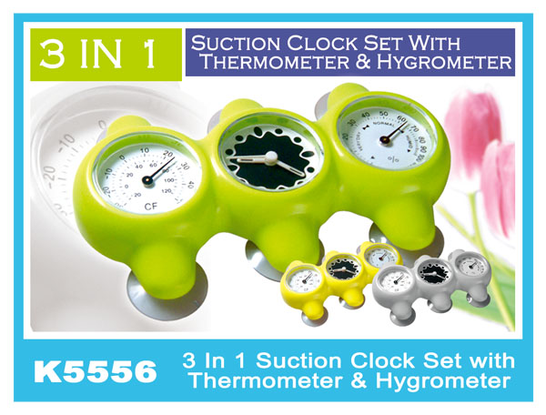 K5556 3 In 1 Suction Clock Set With Thermometer & Hygrometer