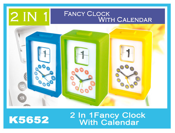 K5652 2 In 1 Fancy Clock With Calendar
