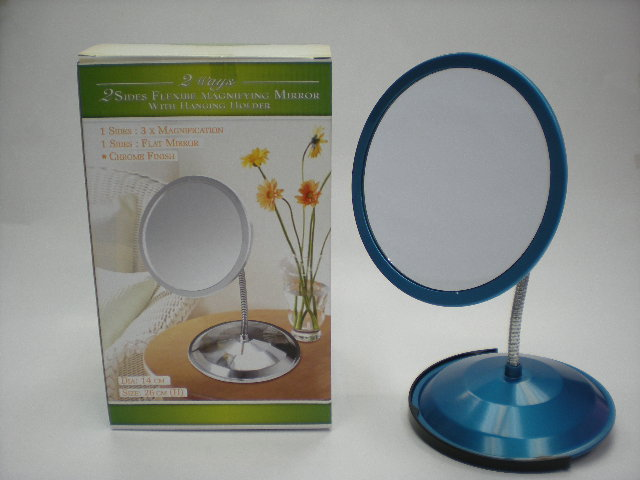 K5832 2 HEADS MAGNIFYING MIRROR W/ HOLDER & 3 SUCTION CUPS (1X&