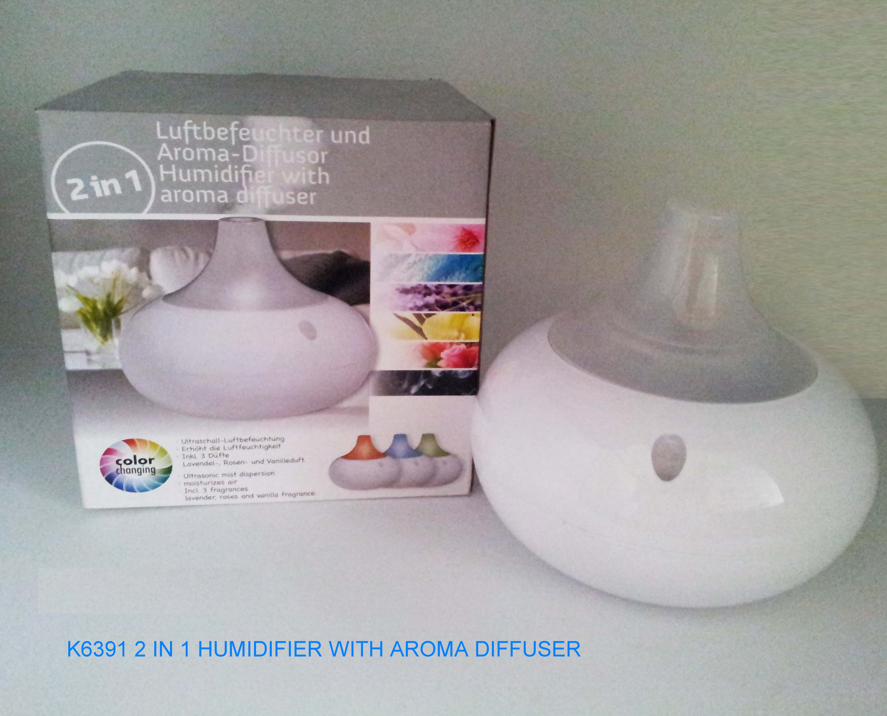 K6391 AROMA DIFFUSER & HUMIDIFIER WITH COLOUR CHANGING LIGHT.