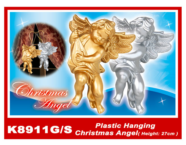 K8911G/S Plastic Hanging Christmas Angel(Height:27cm)