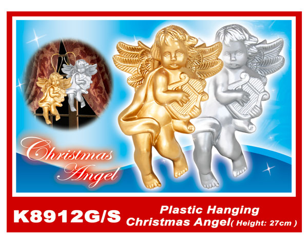 K8912G/S Plastic Hanging Christmas Angel(Height:27cm)