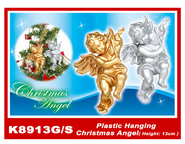 K8913G/S Plastic Hanging Christmas Angel(Height:13cm)