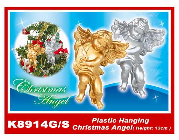 K8914G/S Plastic Hanging Christmas Angel(Height:13cm)