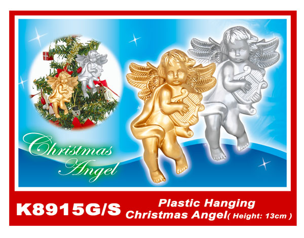 K8915G/S Plastic Hanging Christmas Angel(Height:13cm)