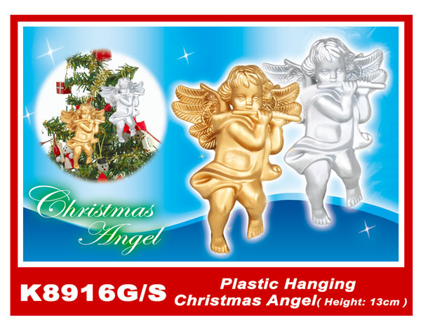 K8916G/S Plastic Hanging Christmas Angel(Height:13cm)