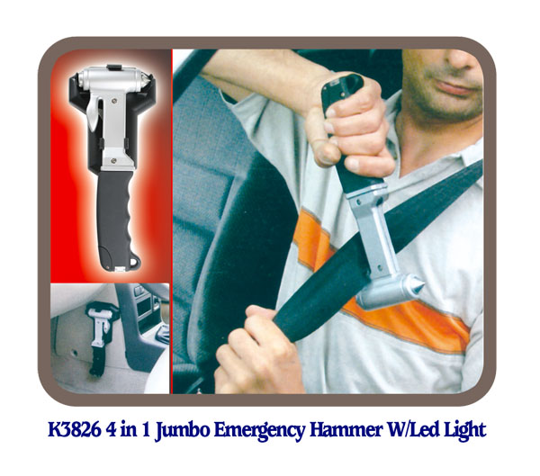 K3826 4 in 1 Jumbo Emergency Hammer W/Led Light